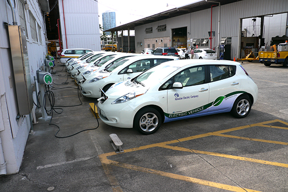 Hawaiian Electric Company EV Fleet charges with AeroVironment EVSE-RS Charging Stations